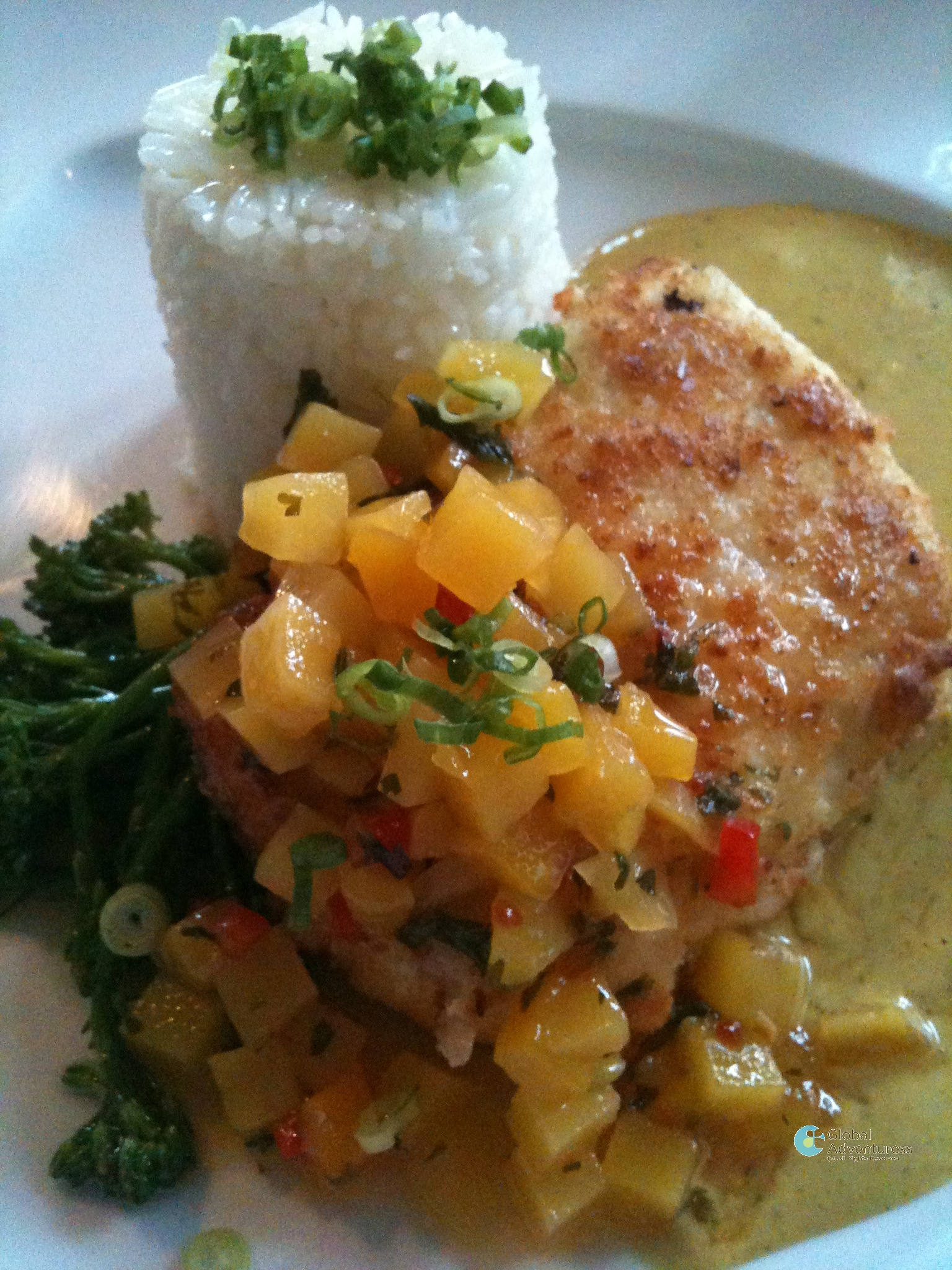 Recipe:  Halibut Baked in Macadamia Nuts with Coconut Curry & Mango Chutney