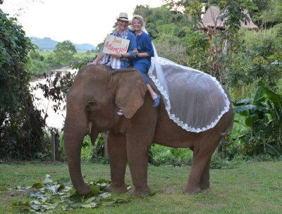 Just Married…on an Elephant!